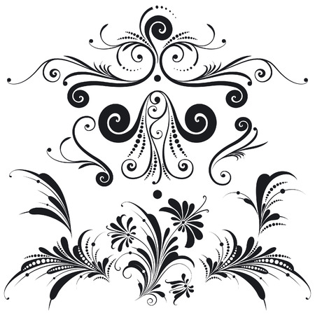 with sets of elements: Decorative Floral Design Elements