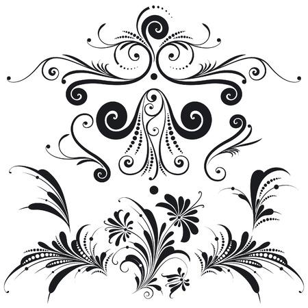 Elementos decorativos de diseño floral