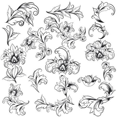 Decoratieve Floral Design Elements Stock Illustratie
