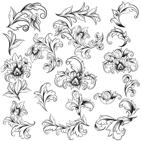 variations set: Decorative Floral Design Elements