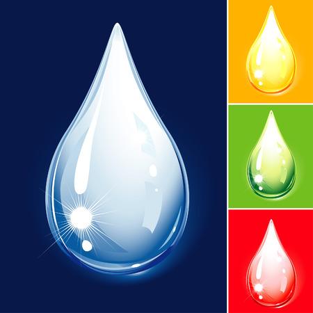 Kleurrijke Drop Set - water en olie, editable vector illustration Stock Illustratie