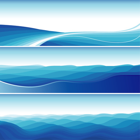 Set Of Blue Abstract Wave Backgrounds, editable vector illustration