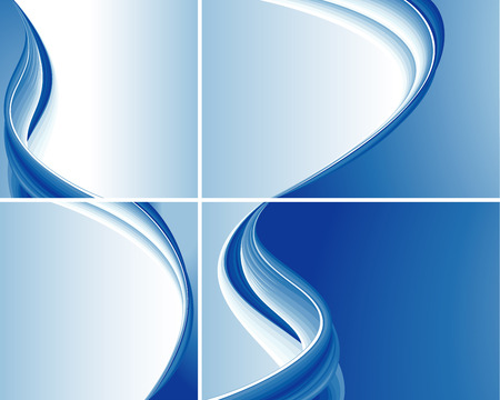 oscillation: Set Of Blue Abstract Wave Backgrounds, editable vector illustration