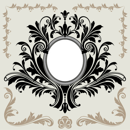 oval: Classic Floral Decoration Frame