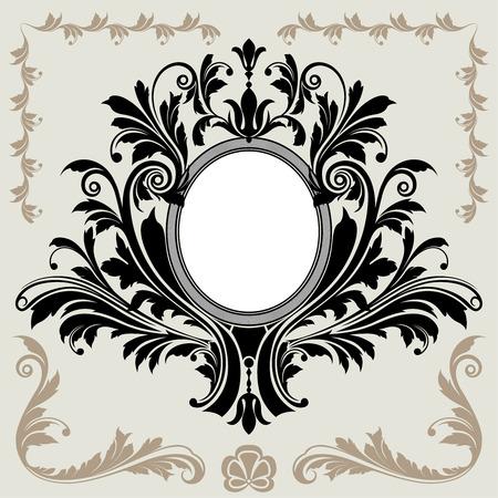 owalne: Classic Floral Dekoracja ramkę