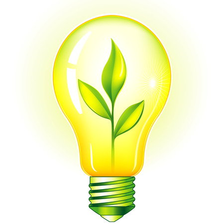 Green Light Bulb With Green Leaves Vector
