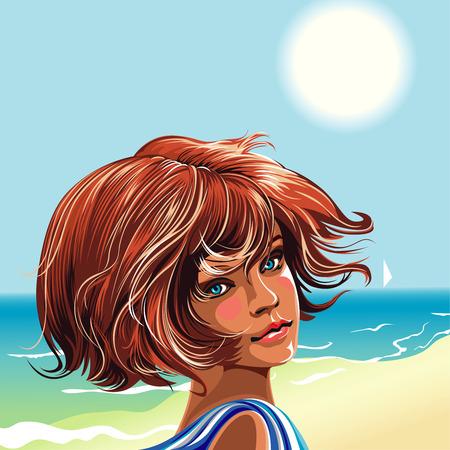 Meisje op het strand kijken over de schouder