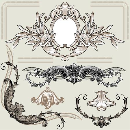 Set Of Classic Bloemen Decoratie Elementen