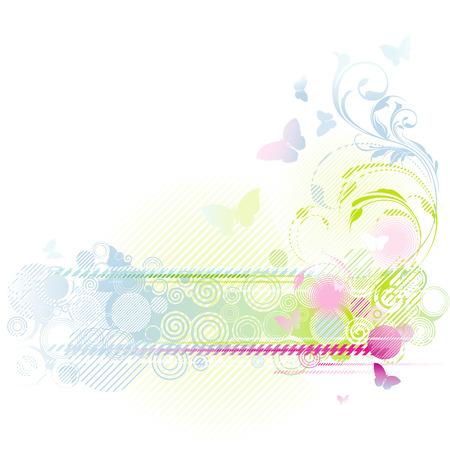 colori: Floral background design con farfalle, illustrazione vettoriale modificabile