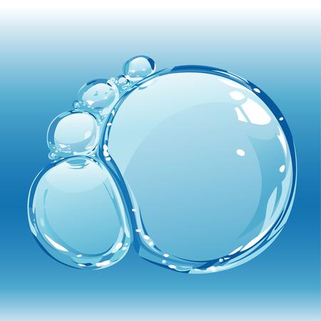Composición de las burbujas de agua pura, ilustración vectorial editable