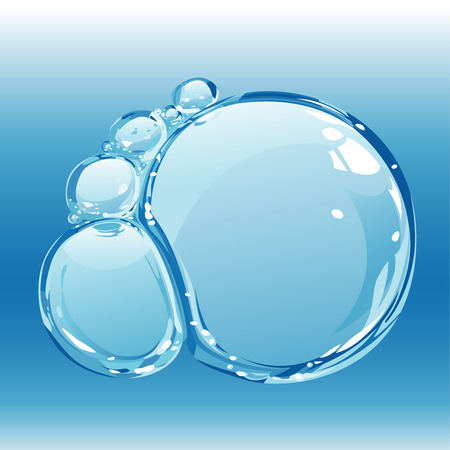 Samenstelling van zuiver water bubbels, editable vector illustration