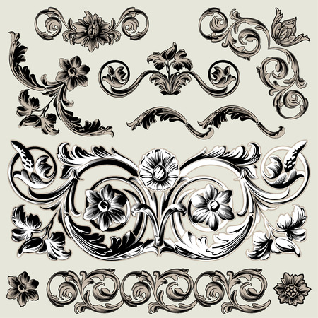Set Of Classic Floral Decoration Elements Vector