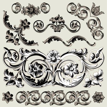Set Of Classic Floral Decoration Elements Vector