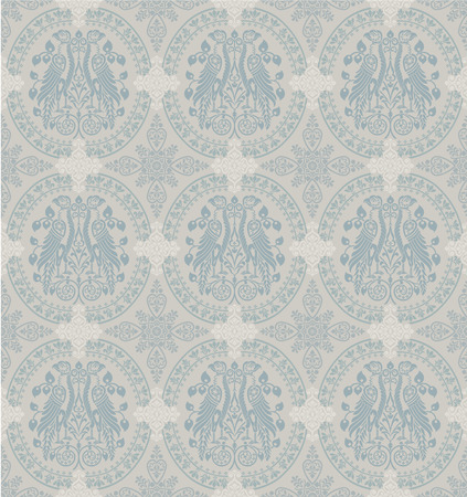 Classic Floral Wallpaper With Heraldic Eagles, seamless