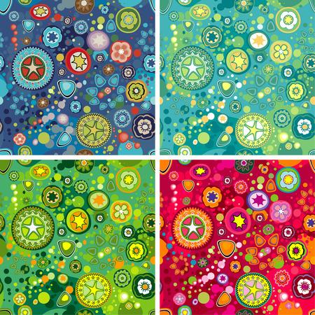 Variaties van kleurrijke bloem Space Achtergronden, editable vector illustration
