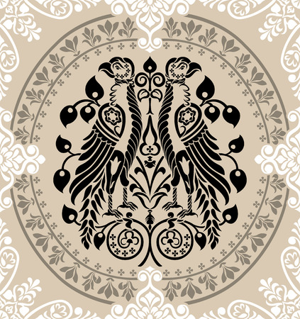 Heraldic Eagles decorated with floral ornaments. editable vector illustration