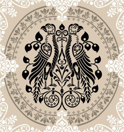 regalia: Heraldic Eagles decorated with floral ornaments. editable vector illustration