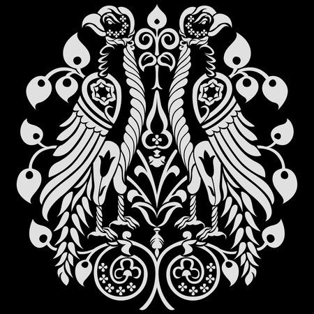 back lit: Aguilas her�ldico decorado con adornos florales. ilustraci�n vectorial editable