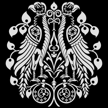 mirrored: Heraldic Eagles decorated with floral ornaments. editable vector illustration