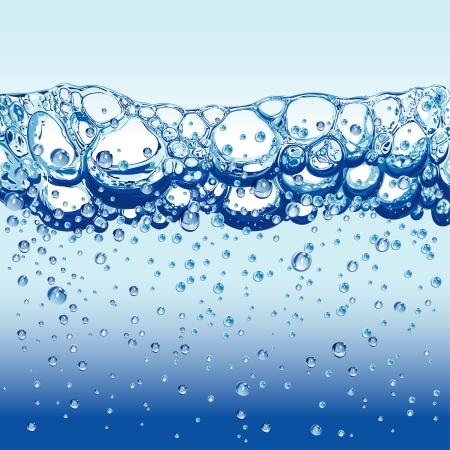 agua purificada: Agua con burbujas espumosas y espuma, ilustraci�n vectorial editable