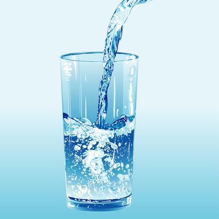 sediento: Agua se vierte en un vaso de agua, ilustraci�n vectorial editable