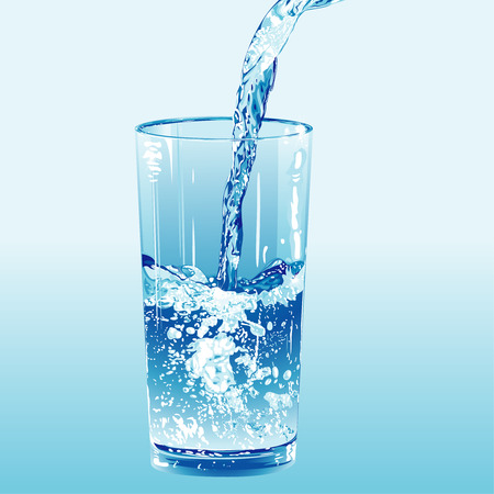 quench: Water poured into a water glass, editable vector illustration
