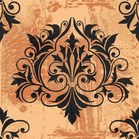 symmetric: Classic Decor Element on grunge background, editable vector illustration