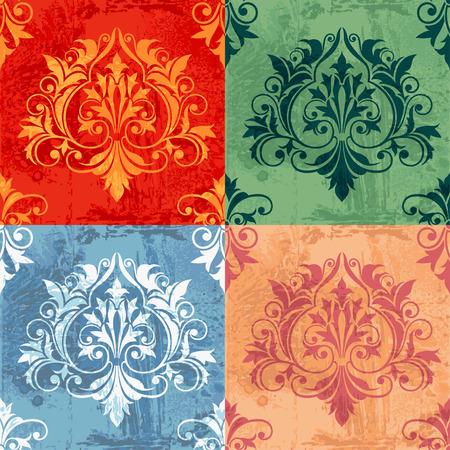 architectural elements: Color variaciones de Classic Decor elementos sobre fondo de grunge, ilustraci�n vectorial editable