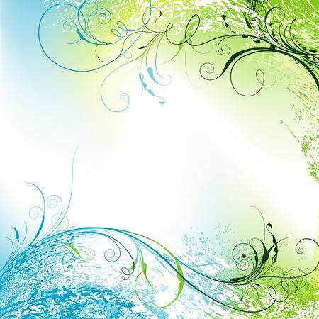 blue spiral: Floral Tendriled Wavy Background, editable vector illustration