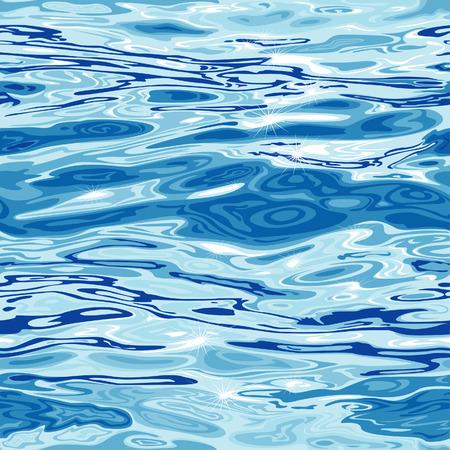 reflectie water: Naadloze Blue Water oppervlakte patroon, bewerkbare vector illustratie