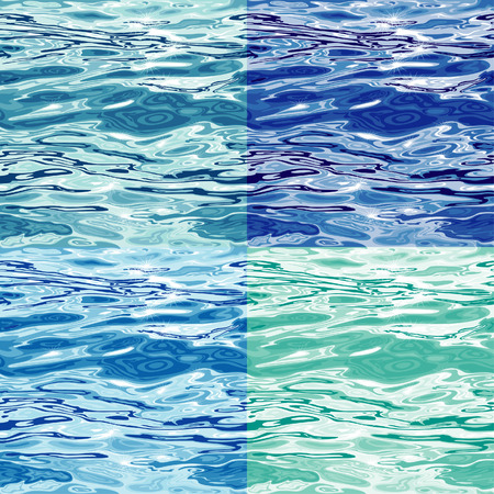 Naadloze Blue Water oppervlakte patroon variaties, bewerkbare vector illustratie Stock Illustratie