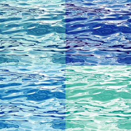 Seamless Blue Water Surface Pattern Variations, editable vector illustration Illusztráció