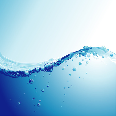 agua: Ola de agua con Bubbles  Vectores