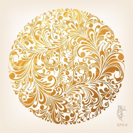 retro circles: Ornamental Gold Circle Pattern