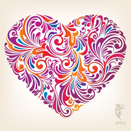 Ornamental Colored Heart Pattern Vector