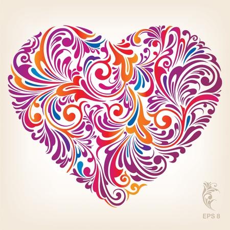 hart bloem: Ornamental Gekleurde Hart Patroon
