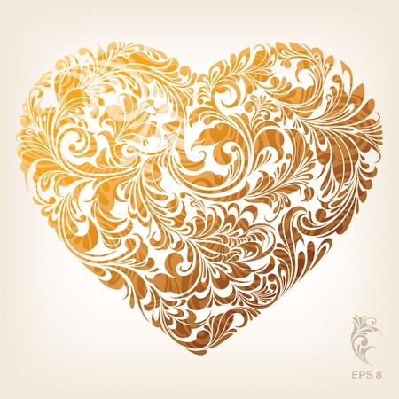 love gold: Ornamental Gold Heart Pattern Illustration