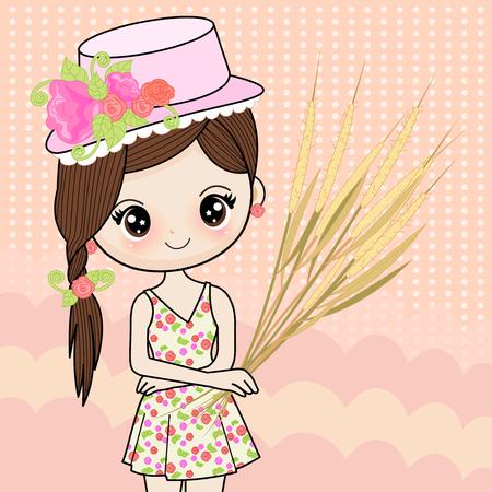 A girl wearing a bright floral dress holding a grass flower