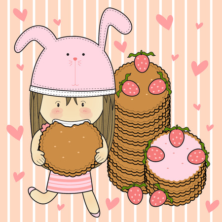 Girls delicious bread with strawberry berries.