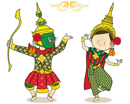 Arte cultura baile tailandés lindo