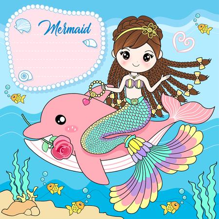 La sirena se sienta sobre un delfín rosado.