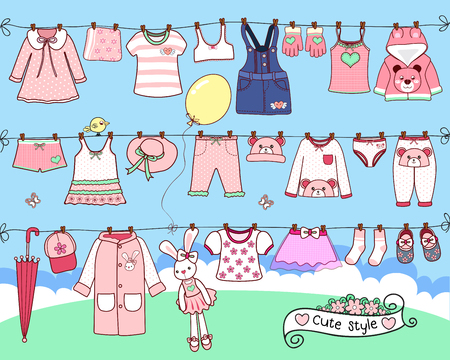 cute clothes drying on washing line Standard-Bild - 109756167