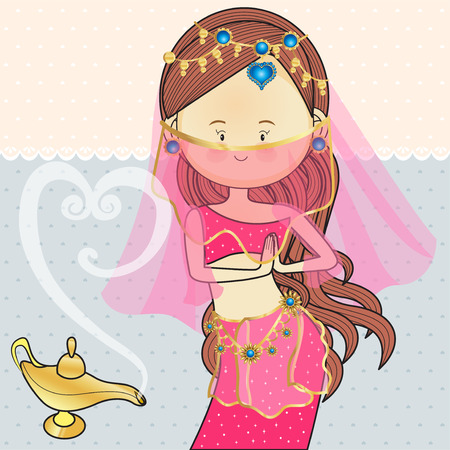 India Egypt Dance Costumes with magic lamps Illustration
