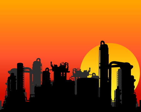 Silhouette of Oil refinery factory during construction at sunset Illustration