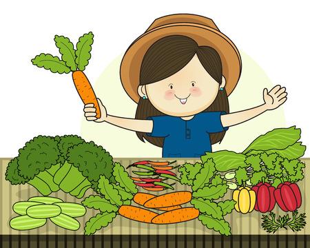 Produce shop keeper. vegetables retail