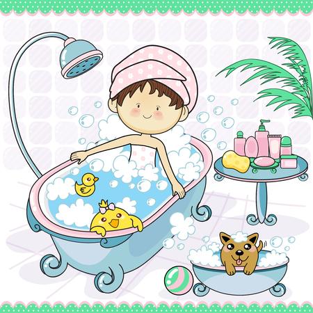Schönes Mädchen nimmt ein Bad in der Wanne.