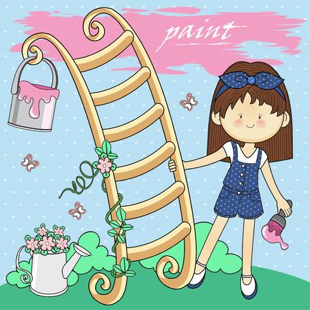 Cute little girl Climbing stairs pink
