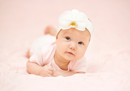 little girl posing: Adorable baby 3 months, close-up portrait