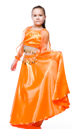 bellydancing: Cute girl dancing, isolated over white