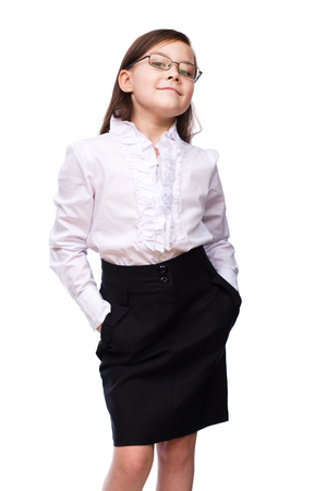 color consultation: Cute young girl business, isolated over white